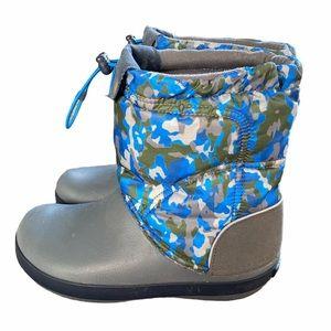 Crocs Camo winter snow boots size 3 grey blue